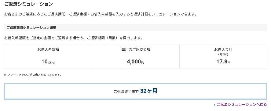 プロミスの借入残高10万円のときの返済期間
