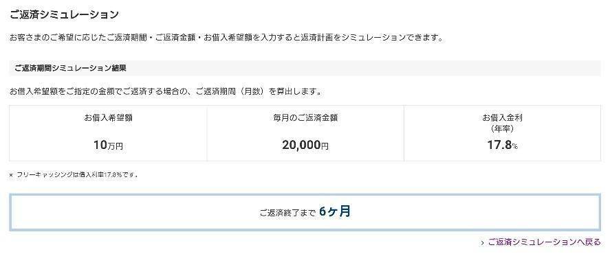 プロミス10万円借入時の2万円返済の返済期間