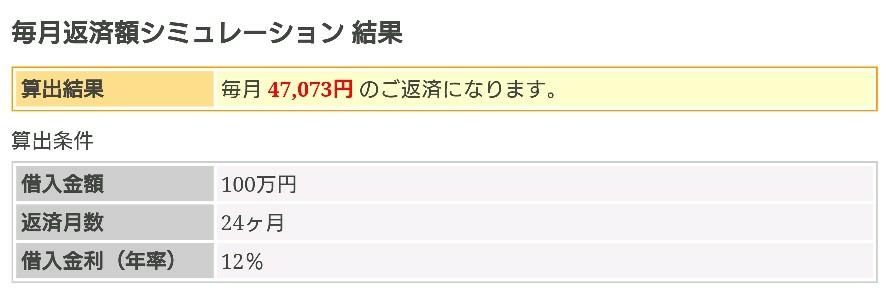 三井住友銀行カードローン「年12%」24回の返済額