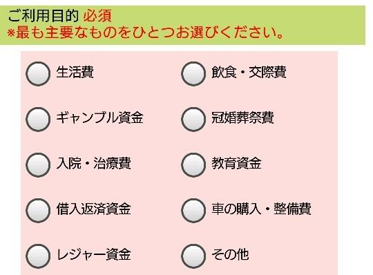 三井住友銀行カードローンの利用目的の項目